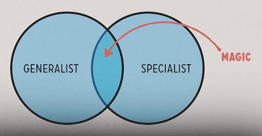 جادو زمانی رخ میدهد که متخصص و جنرالیستها همکاری بکنند.
